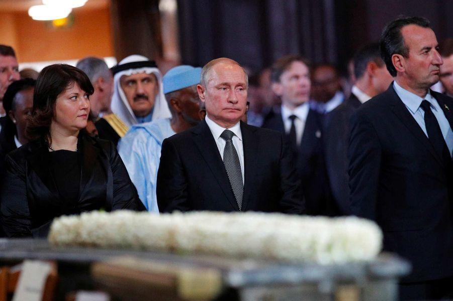 Le président russe Vladimir Poutineà l'église Saint-Sulpice pour l'hommage à Jacques Chirac, le 30 septembre 2019.