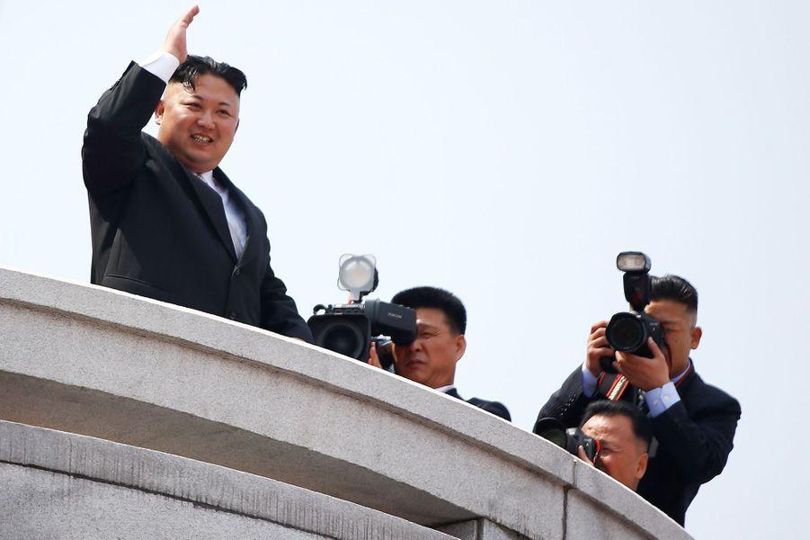 Kim Jong-un lors dudéfilé militaire à Pyongyang, le 15 avril 2017.