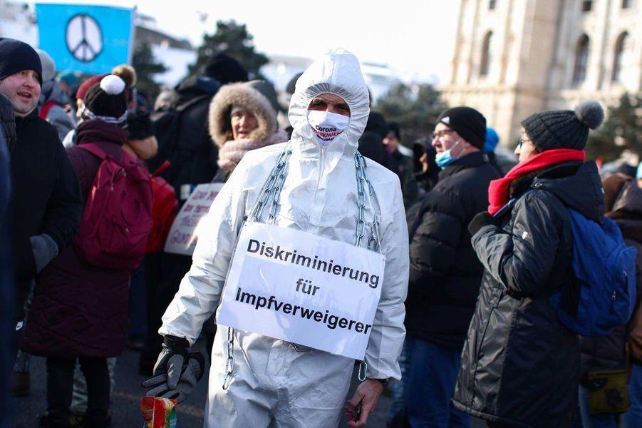 Manifestation à Vienne, en Autriche, le 16 janvier 2021.