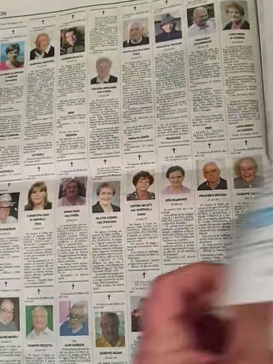 Le journal local publié des pages entières de nécrologie chaque jour.