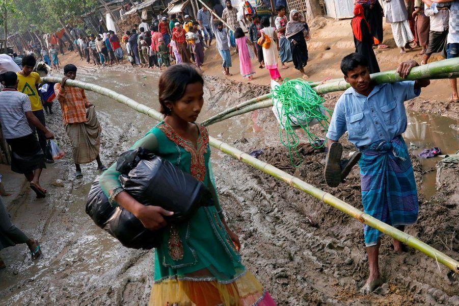 Dans un des camps de réfugiés de Cox's Bazar, au Bangladesh, où les Rohingyas vivent, le 3 janvier 2018.