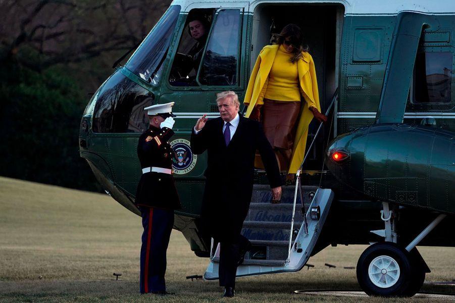 Donald et Melania Trump de retour à la Maison-Blanche, le 5 février 2018.