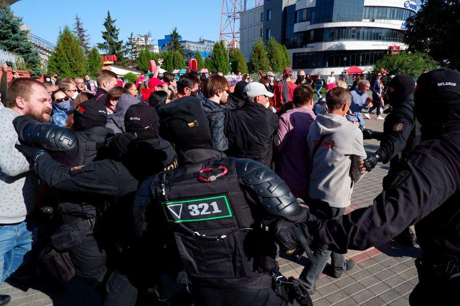Manifestation à Minsk, au Bélarus, le 20 septembre 2020.