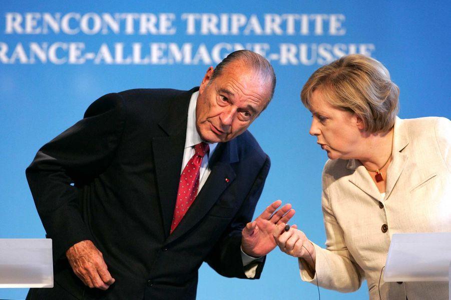 Jacques Chirac et Angela Merkel à Compiègne, en septembre 2006.