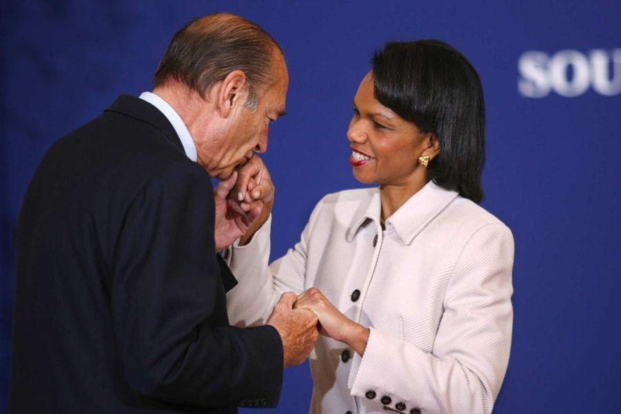 Jacques Chirac et la secrétaire d'Etat américaine Condoleezza Rice à Paris, en janvier 2007.
