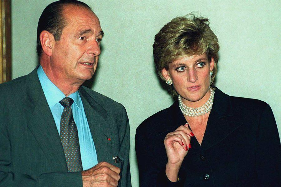 Jacques Chirac et la princesse Diana à Paris, en septembre 1995.