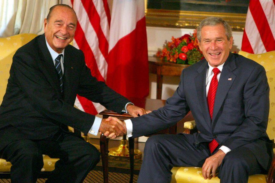 Jacques Chirac et George W. Bush à New York, en septembre 2006.