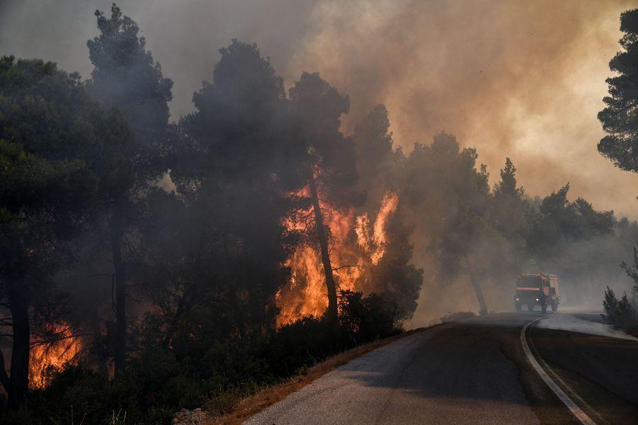Un violent incendie ravage l'île grecque d'Eubée.