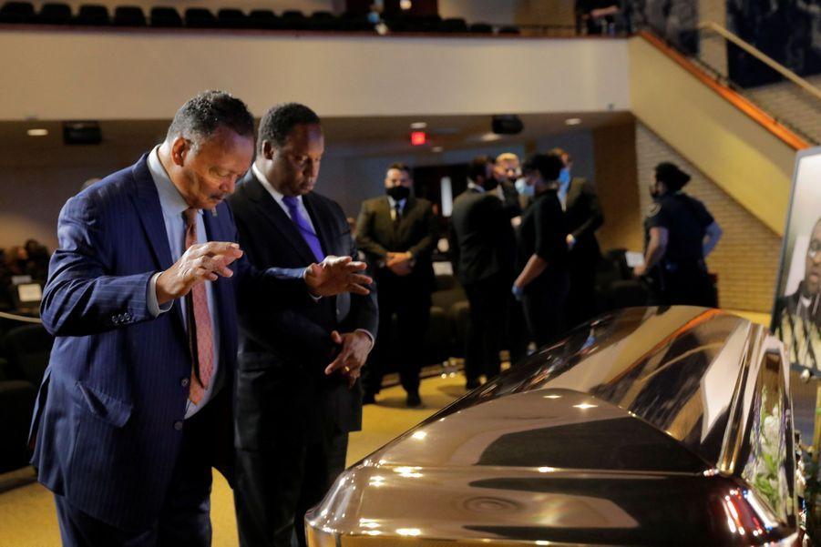 Le révérend Jesse Jackson à la cérémonie en hommage à George Floyd.