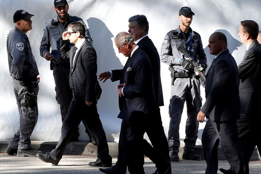 Le prince Charles arrive aux funérailles de Shimon Peres, à Jérusalem, le 30 septembre 2016.