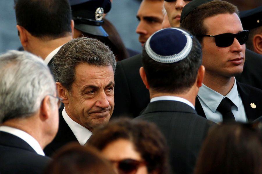 Nicolas Sarkozyaux funérailles de Shimon Peres, à Jérusalem, le 30 septembre 2016.