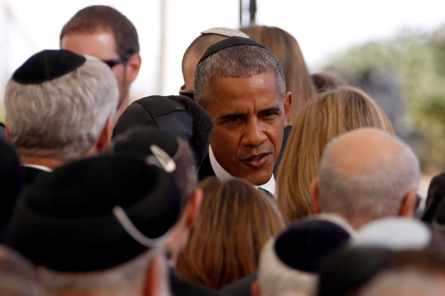 Barack Obamaaux funérailles de Shimon Peres, à Jérusalem, le 30 septembre 2016.