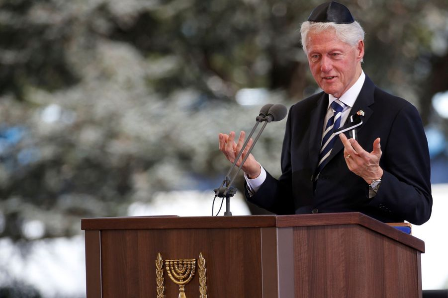 Bill Clintonaux funérailles de Shimon Peres, à Jérusalem, le 30 septembre 2016.