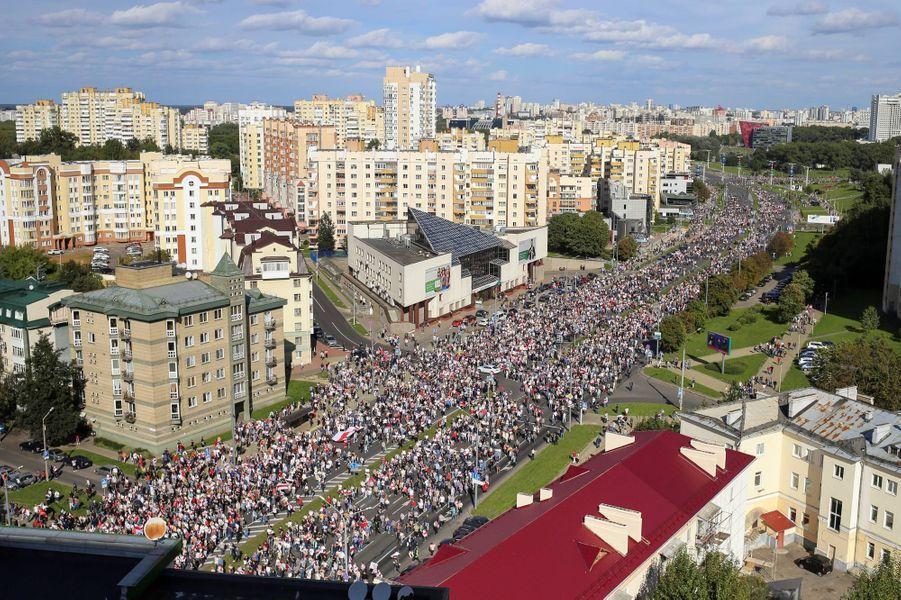 Manifestation à Minsk, au Bélarus, le 13 septembre 2020.