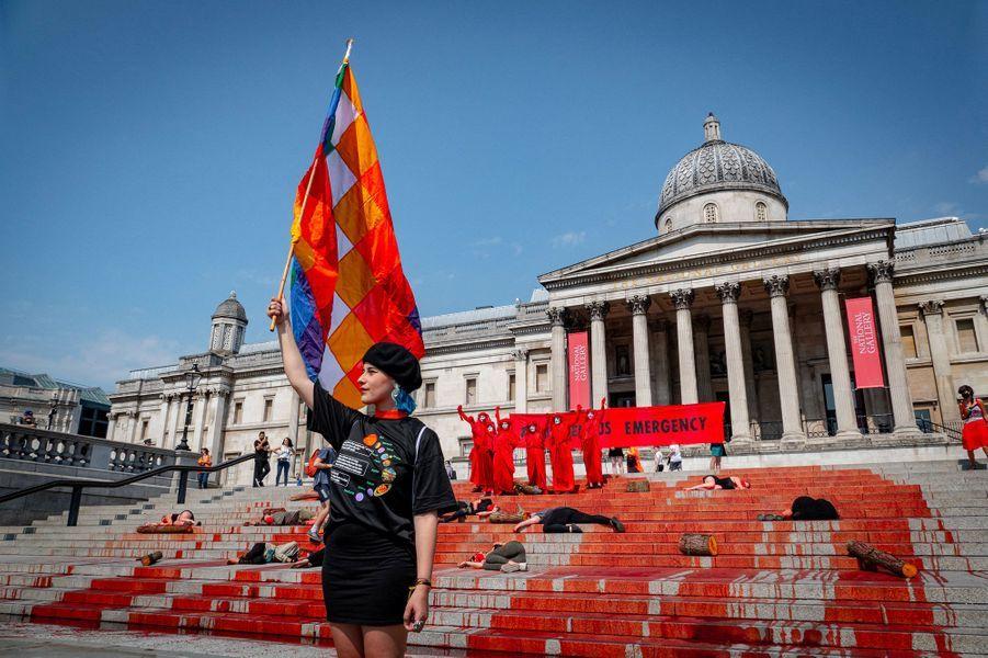 Les membres de l'organisation Extinction Rebellion UK à Londres, dimanche 09 août.