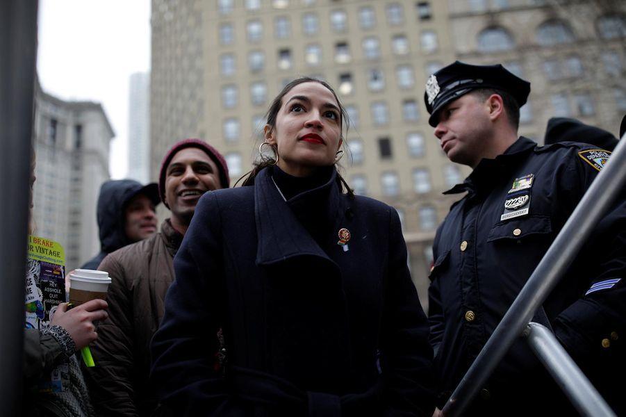 Alexandria Ocasio-Cortez à la «marche des femmes» à New York, le 19 janvier 2019.