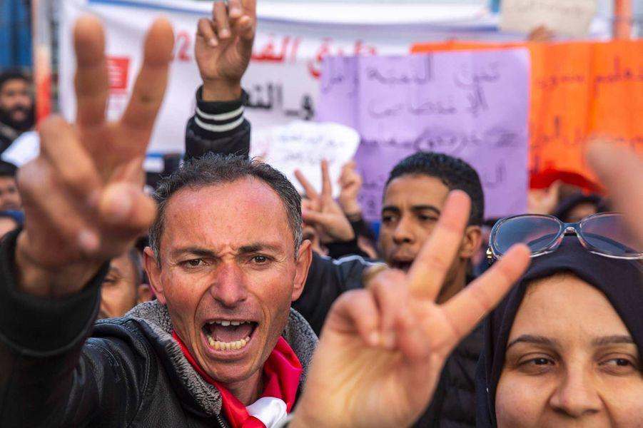 Manifestation à Tunis, le 14 janvier 2020.