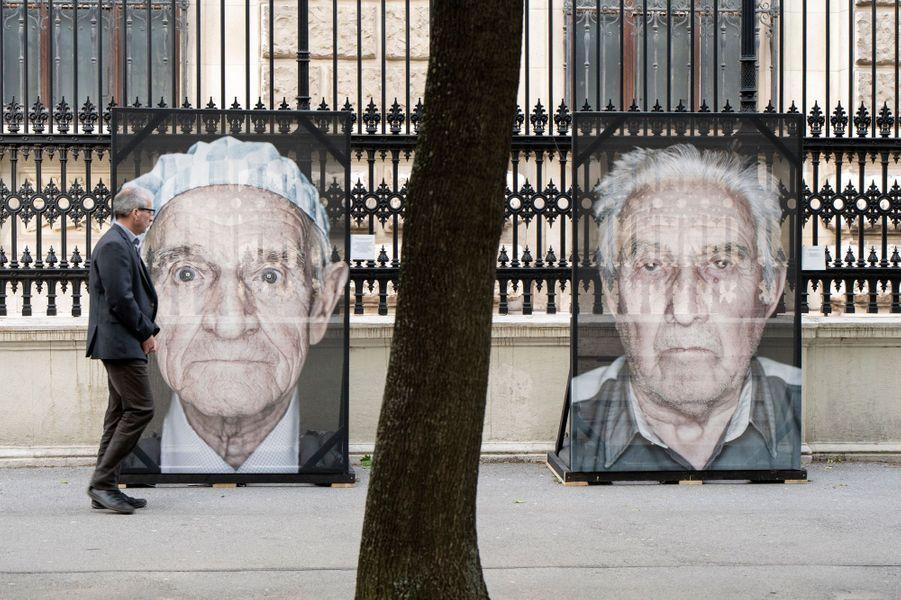 Photos de rescapés de l'Holocauste vandalisés à Vienne à 27 mai 2019.
