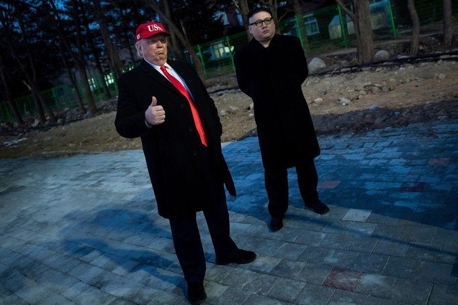 """Les """"faux"""" Donald Trump et Kim Jong-Un."""