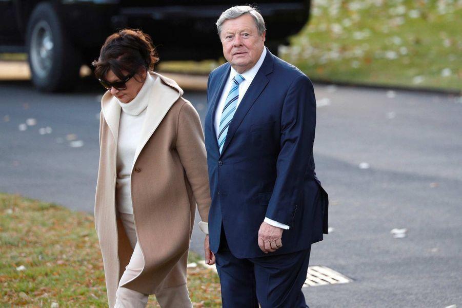 Amalija et Viktor Knavs, les parents de Melania Trump, ont quitté la Maison-Blanche direction la Floride, le 26 novembre 2019.