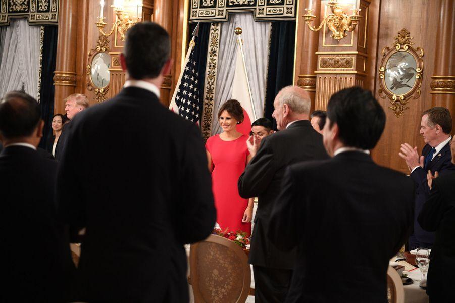 Melania et Donald Trump lors du dîner d'Etat à Tokyo, le 6 novembre 2017.