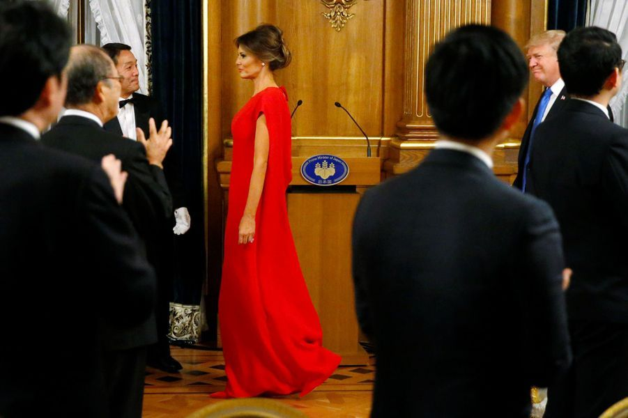 Melania Trump lors du dîner d'Etat à Tokyo, le 6 novembre 2017.