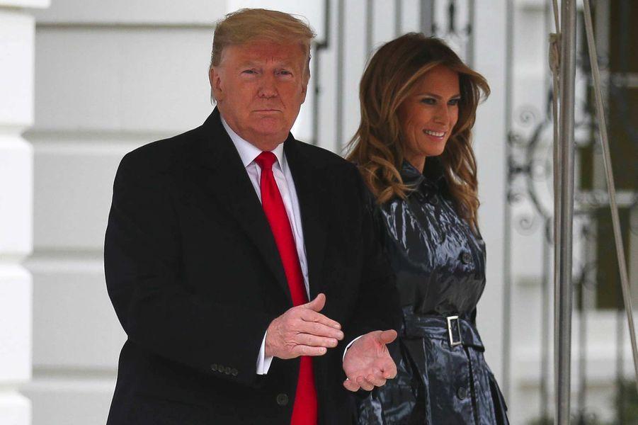 Donald et Melania Trump quittant la Maison-Blanche pour La Nouvelle-Orléans, le 13 janvier 2020.