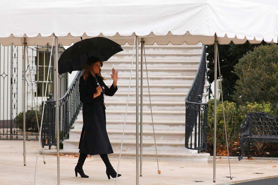 Melania Trump quittant la Maison-Blanche, le 2 décembre 2019.