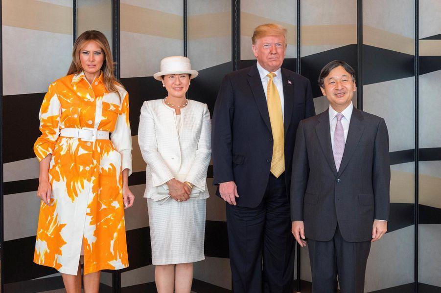 Donald et Melania Trump avec l'empereur Naruhito et l'impératrice Masako, le 28 mai 2019.