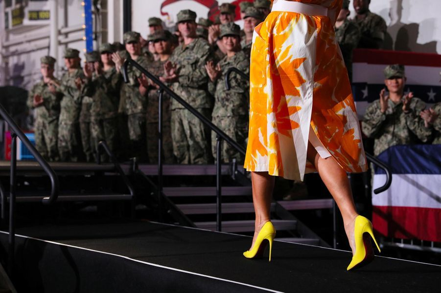 Melania Trump sur la base navale de Yokosuka, le 28 mai 2019.
