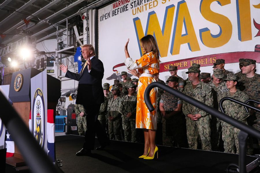 Donald et Melania Trump sur la base navale de Yokosuka, le 28 mai 2019.