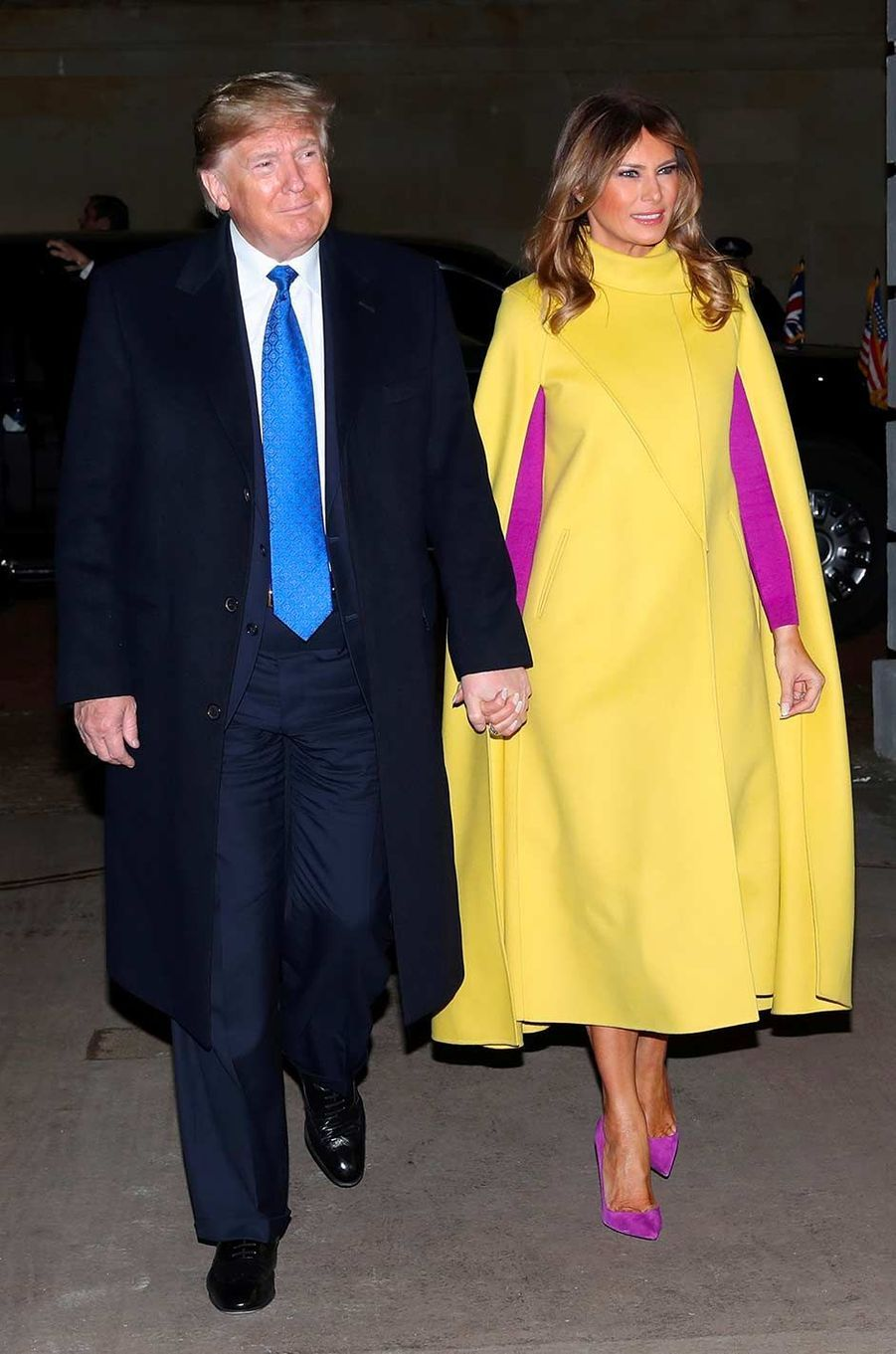 Donald et Melania Trump accueillis à Clarence House pour y rencontrer le prince Charles et Camilla, le 3 décembre 2019.