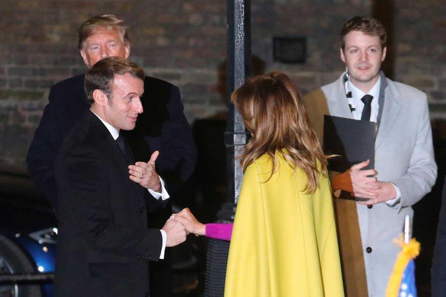 Donald et Melania Trump avec Emmanuel Macron, arrivant à Downing Street, le 3 décembre 2019.