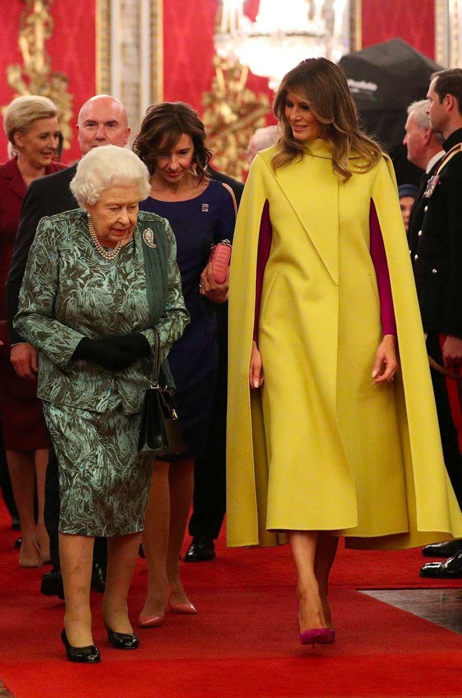 La reine Elizabeth II et Melania Trumpà Buckingham Palace, le 3 décembre 2019.