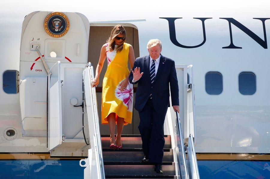 Donald et Melania Trump arrivent à Biarritz, samedi.