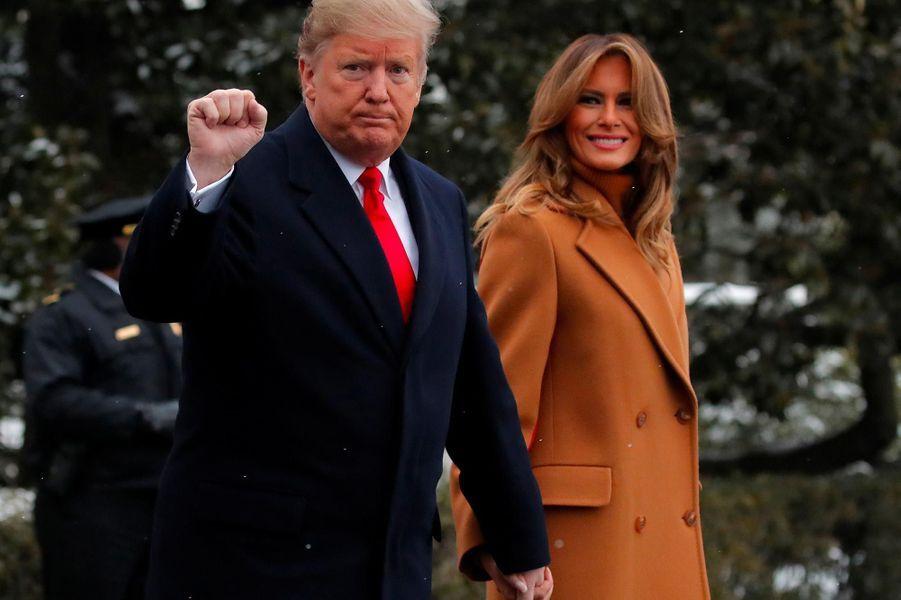 Donald et Melania Trump quittant la Maison-Blanche, le 1er février 2019.
