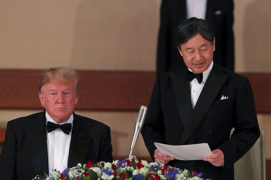 Donald et Melania Trump invités d'un banquet impérial avec l'empereur Naruhito et son épouse Masako à Tokyo, le 27 mai 2019.