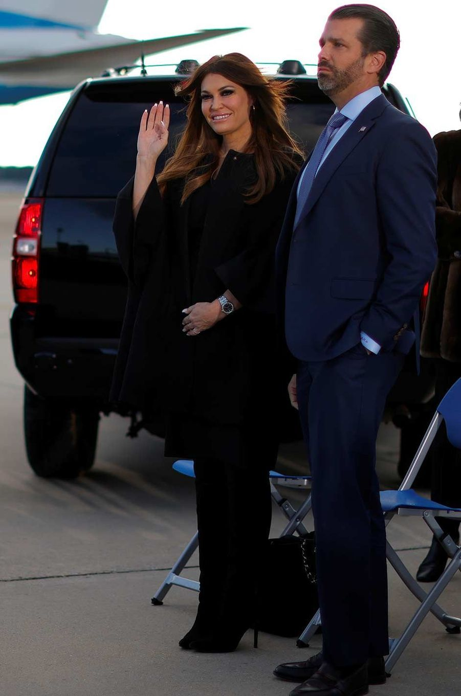 Kimberly Guilfoyle et Donald Trump Jr sur la base Andrews, le 20 janvier 2021.