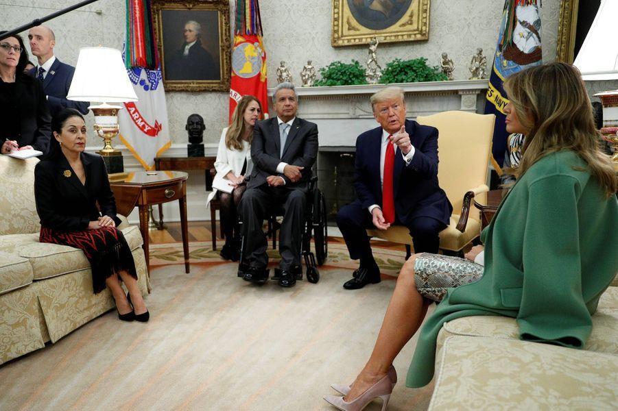Donald et Melania Trump à la Maison-Blanche avecle président équatorien Lenin Moreno et son épouse Rocio Gonzalez, le 12 février 2020.