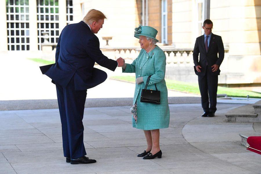 Donald Trump et la reine Elizabeth II à Buckingham Palace, le 3 juin 2019.