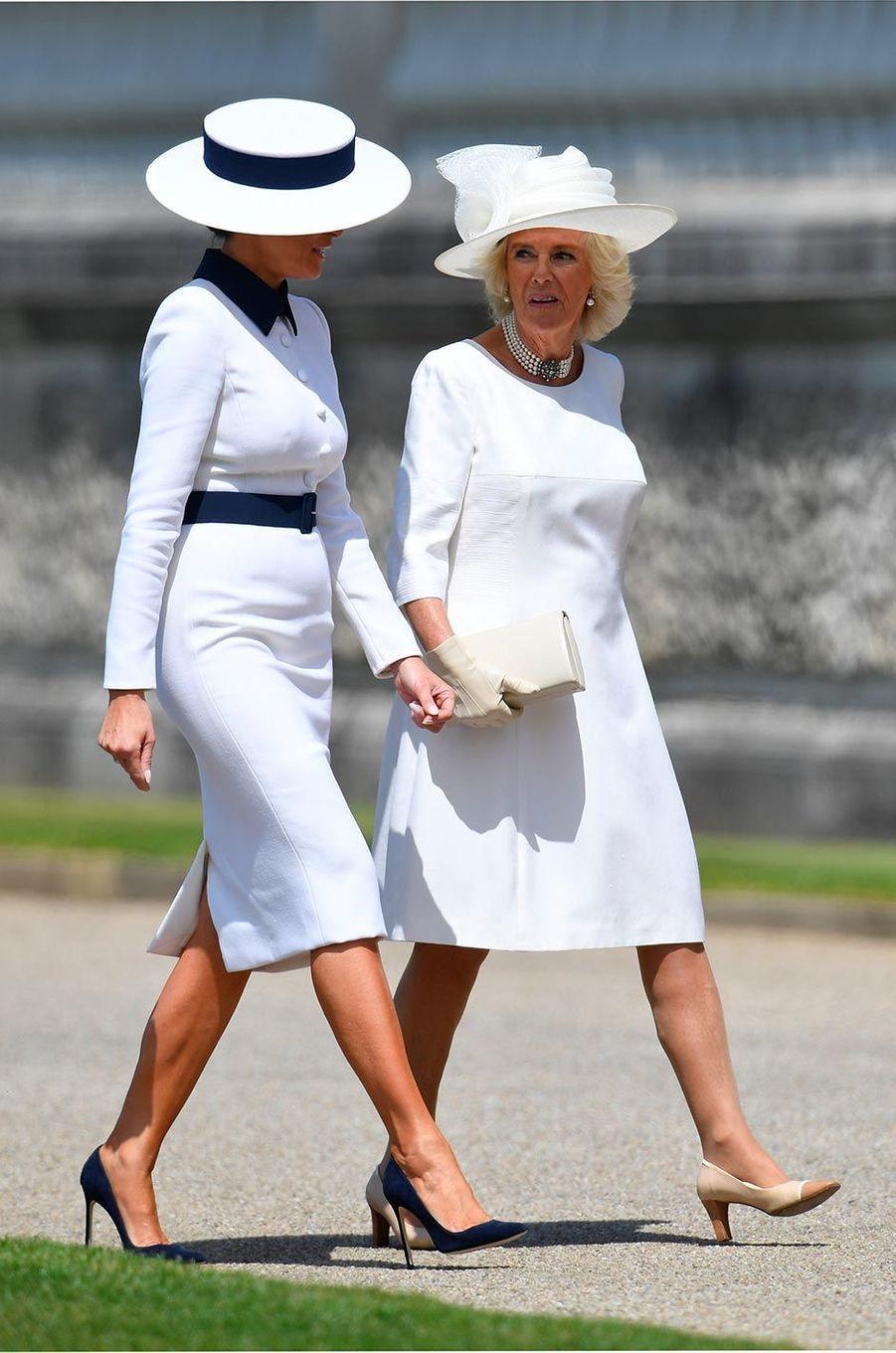 Melania Trump etCamilla, duchesse de Cornouailles, à Buckingham Palace, le 3 juin 2019.