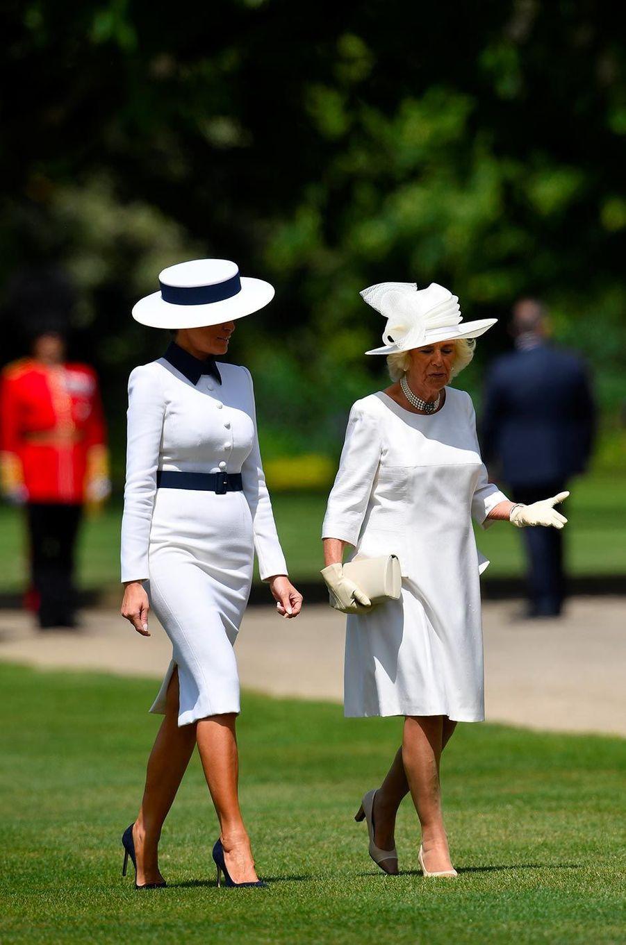 Melania Trump etCamilla,duchesse de Cornouailles, à Buckingham Palace, le 3 juin 2019.