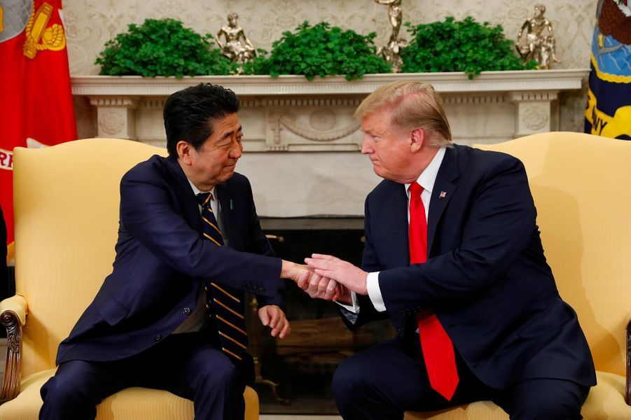 Shinzo Abe et Donald Melania Trump à la Maison-Blanche, le 26 avril 2019.
