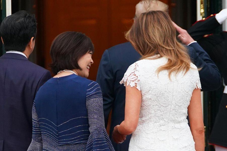 Akie et Shinzo Abe, Donald et Melania Trump à la Maison-Blanche, le 26 avril 2019.