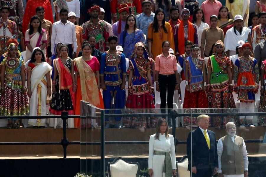 Donald et Melania Trump lors du meeting «Namaste Trump» àAhmedabad, le 24 février 2020.