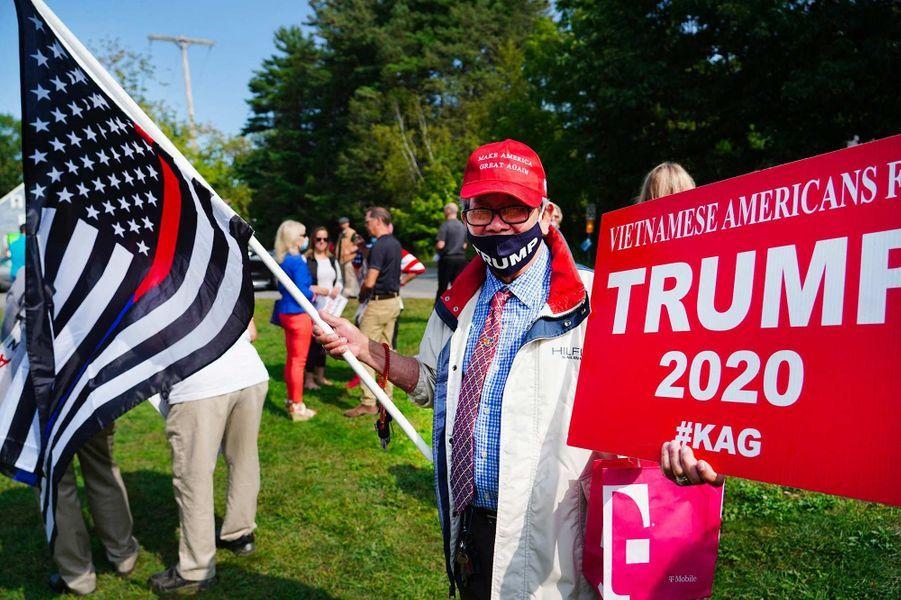Des partisans de Donald Trump lors d'un événement de campagne avec Eric Trump à Portsmouth, le 17 septembre 2020.