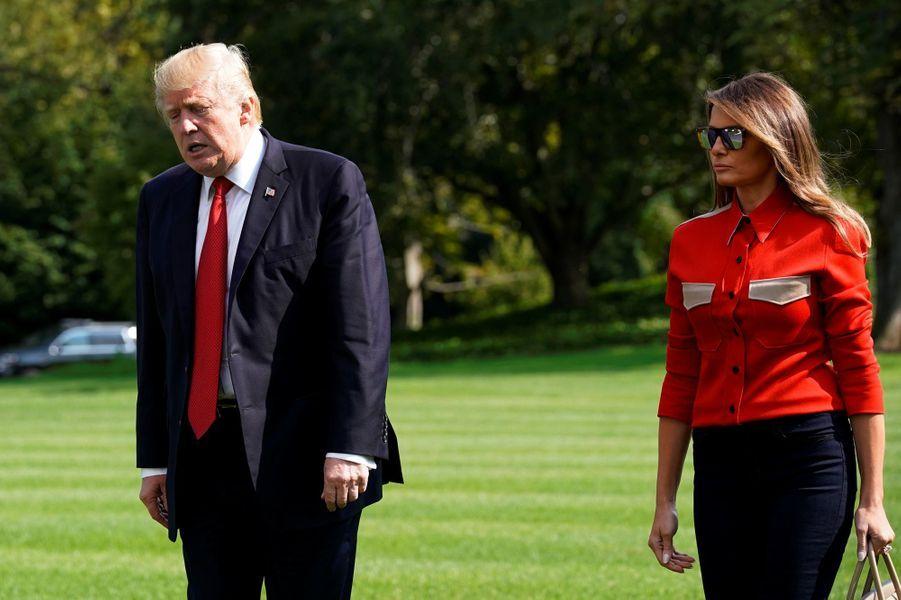 Donald et Melania Trump de retour à la Maison Blanche, le 10 septembre 2017.