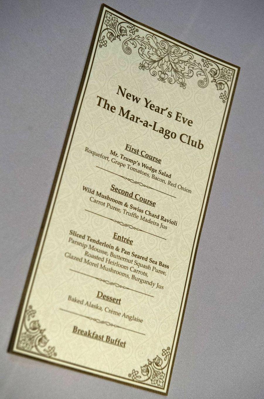 Le menu de la soirée du Nouvel An, le 31 décembre 2016 à Mar-a-Lago.