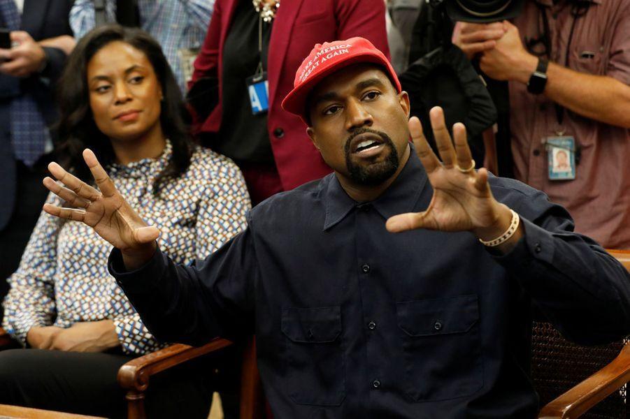 Le rappeur Kanye West à la Maison Blanche jeudi.
