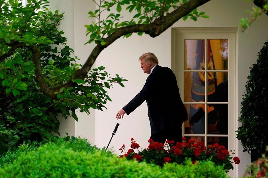 Donald Trump quittant la Maison-Blanche, le 16 mai 2018.